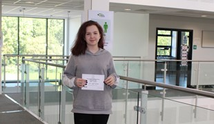 UTC South Durham student Sophie holds her Maths Challenge Certificate