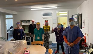Nurses and carers wearing visors made by UTC