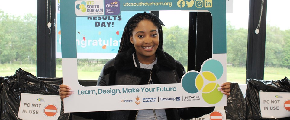 UTC student Felicity Nkomo celebrates her A-level results