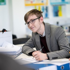 A student works in a classroom at UTC South Durham.