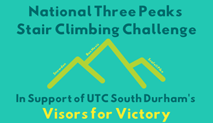 A graphic showing three mountain peaks with 'National Three Peaks Climbing Challenge' in a bold font above it.