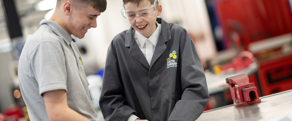 UTC South Durham students working in the Engineering Hall